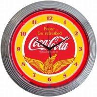 コカコーラCoca-colaWINGS ネオンクロック レトロ 壁掛時計